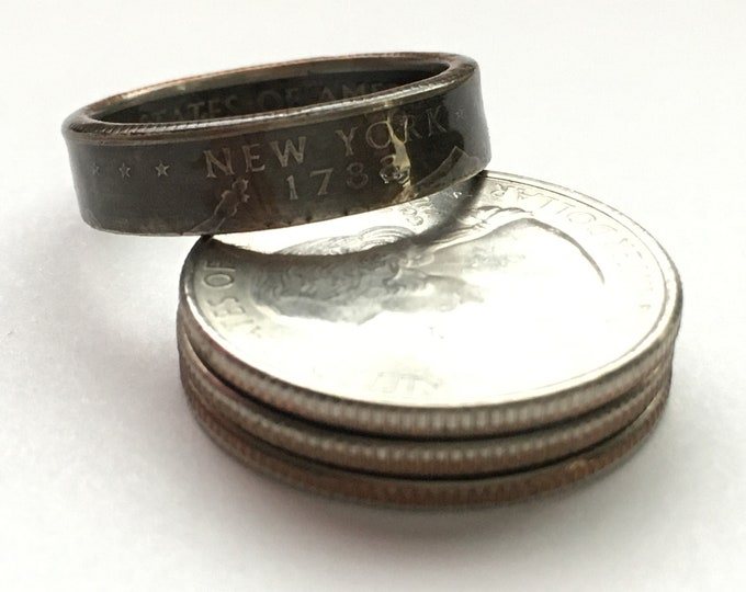 2001 New York US State Quarter Coin Ring - Antiqued -Sealed - Gothic Dark Souls Supernatural Cosplay