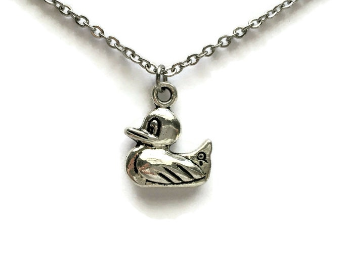 Duckling Necklace on Stainless Steel Cable Chain Tibetan Silver Rubber Ducky Duck Fowl Bird Charm Pendant