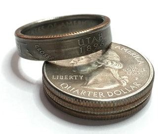 2007 Utah US State Quarter Coin Ring - Antiqued - Sealed - Gothic BOHO - Dark Souls Supernatural Cosplay