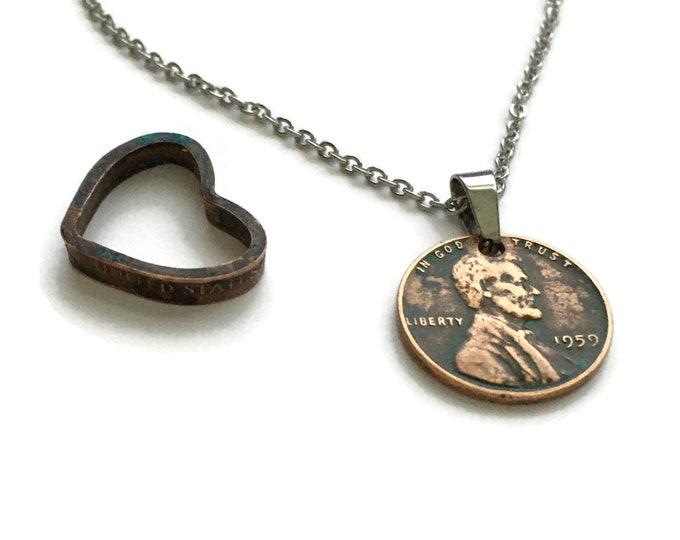 1959 Handmade Lucky Lincoln Penny Necklace with Folded Copper Antiqued Penny Heart - OOAK Jewelry - Birth Year - Pennies from Heaven