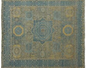 Handmade Mamluk Afghan Rug Tribal Traditional Oriental Wool Area Rug For Living Room 8 X 8 Ft    264 X 247 Cm