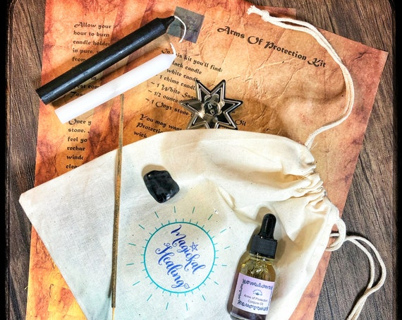 Arms of Protection Empowerment Kit- Protect Yourself Spiritually with Candle, Crystal and Herbal Magick