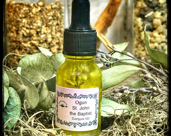 Ogun or St.  John The Baptist Holy Conjure Oil- Remove Barriers- Protection From Enemies And Evil