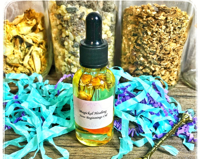 New Beginnings Magickal Healing Anointing Oil- Aids In Transformation, Relieves Anxiety & Eases the Stress of Transitioning