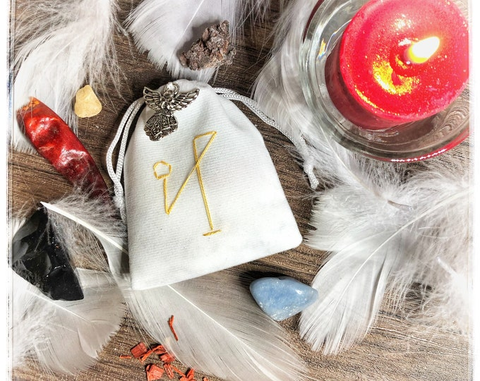 Archangel Michael Strength & Protection Sachet with Sigil and Silver Angel Charm