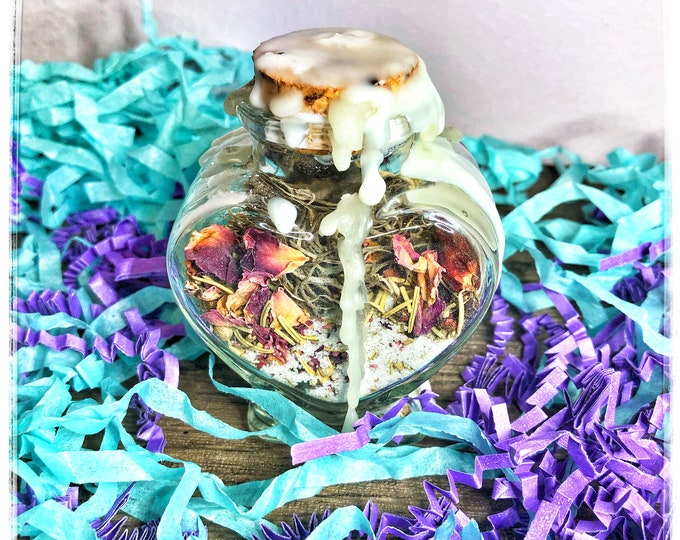 Empath Protection Charm Bottle- Decorative Hoodoo Jar To Repel Negative Energy & Promote Peaceful, Positive Energy for Empaths