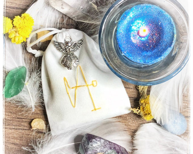 Archangel Gabriel Mercy & Peace Sachet with Sigil and Silver Angel Charm