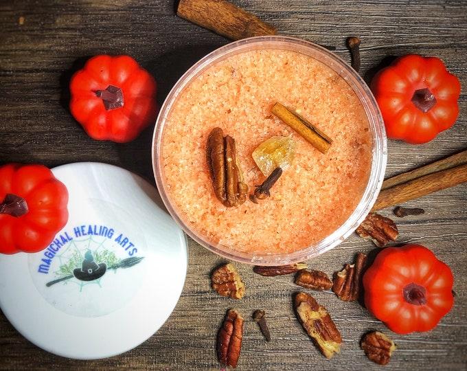 The Kitchen Witch's Pumpkin Pecan Sugar Scrub- Organic- Coconut Oil Based- Bath/Shower Sugar Scrub Promotes Prosperity- Pumpkin Pie Scented