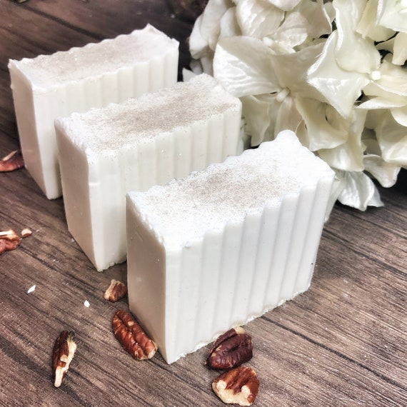 White Witch Ritual Bath Soap- Oatmeal Soap Bars- Magically Charged to Heal Emotional Stress- Magnolia & Pecan Pie Scented