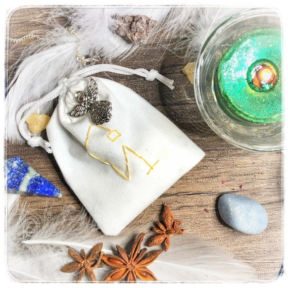 Archangel Uriel Intuition & Wisdom Sachet with Sigil and Silver Angel Charm