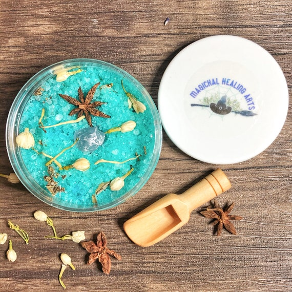 Archangel Uriel Ritual Bath Salts with Bamboo Scoop- 8 Ounce- Now Also Available in A Scrub