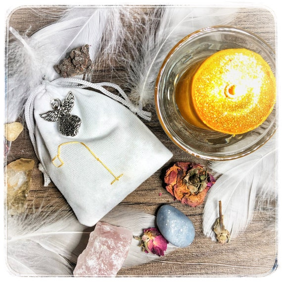 Archangel Raphael  Healing, Love & Joy Sachet with Sigil and Silver Angel Charm