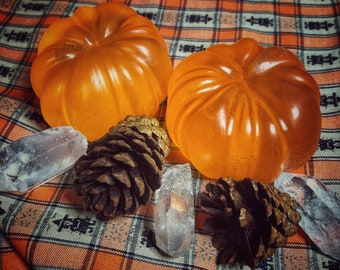 Crystal Infused Pumpkin Manifestation Soaps- Pumpkin Pie Scented Coconut Oil Soap- LIMITED FALL EDITION