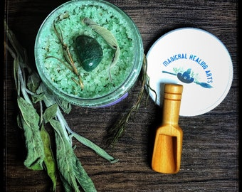 Green Witch Ritual Bath Salts with Bamboo Scoop- 8 Ounce- Now Available in a Scrub