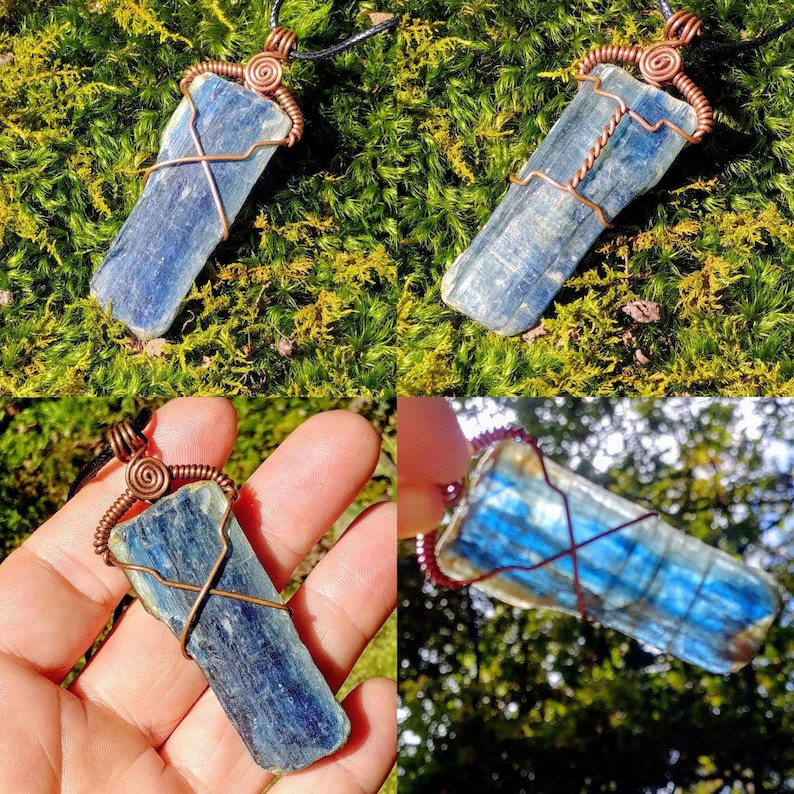 Blue Kyanite Crystal Natural Gem Healing Copper Wrapped Pendant Necklace