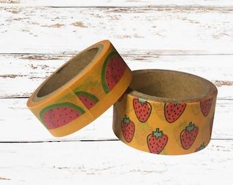 watermelon strawberry yellow red green fruit Yummy Fruit Washi Tape Set of 2 rolls of washi tape