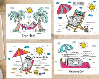 Vacation Cat   4 Postcards   130 Thick Cardstock   For sending a postcard to a friend, family member