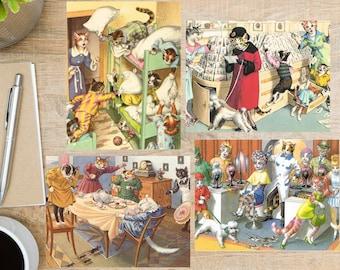 Vintage Cat Prints Postcard Set   4 Postcards   130 Thick Cardstock   For sending a postcard to a friend, family member