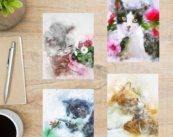 Watercolor Cats Postcard Set   4 Postcards   130 Thick Cardstock   For sending a postcard to a friend, family member