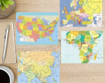 4 Postcards Vintage Maps Postcard Set For sending a postcard to a friend 130 Thick Cardstock family member