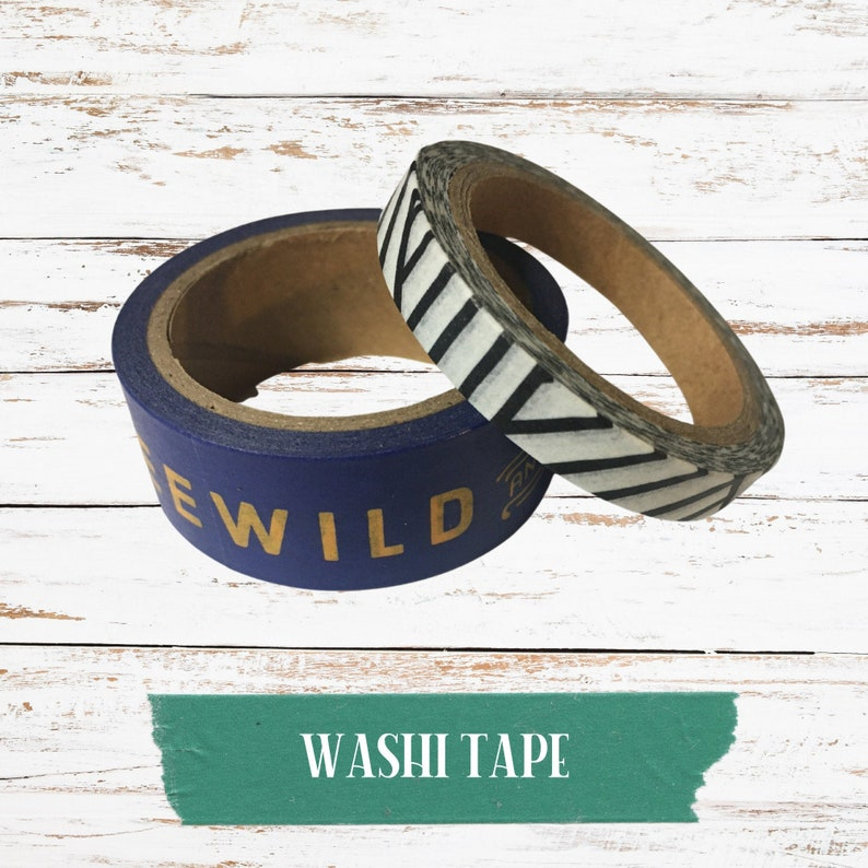 Wild and Free Washi Tape Set of 2 rolls of washi tape gold blue black and white stripe