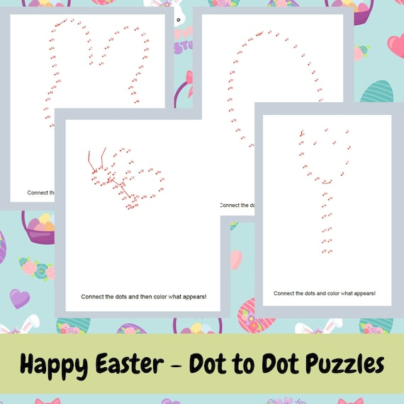 Easy Easter Dot to Dot Printable Puzzles  Pack of 4 Different