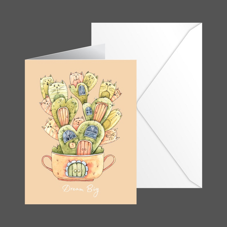 4.25 inches wide by 5.50 inches tall Blank inside Comes with 6 cards and matching envelopes Cat-tus Greeting Card