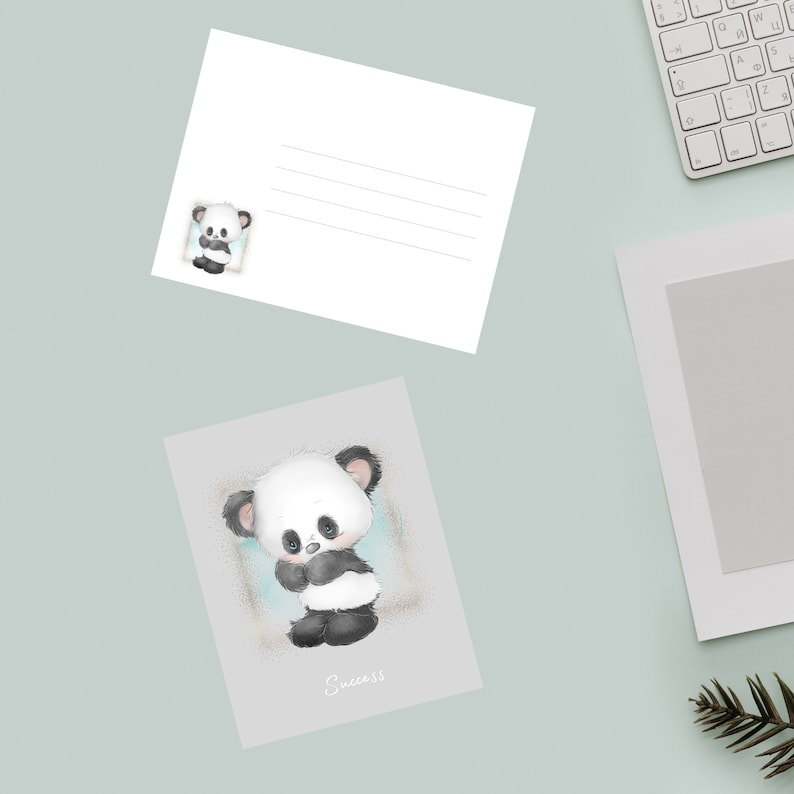 4.25 inches wide by 5.50 inches tall Panda Bear Success Greeting Card Comes with 6 cards and matching envelopes Blank inside