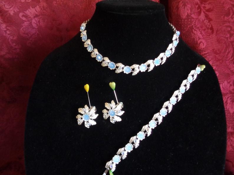 Carries The Judy Lee Mark Earrings And Bracelet Complete Set of Perriwinkle Blue Moonstones With Aura Borealis Rhinestones Necklace