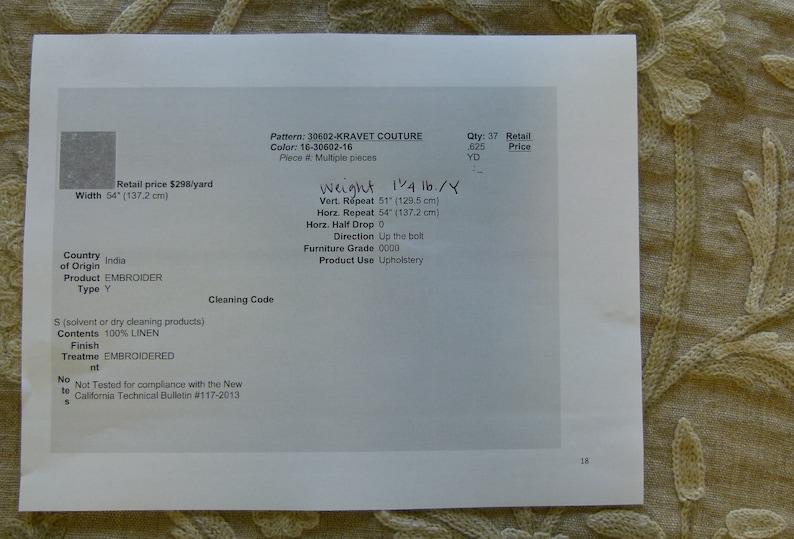 By Yard Kravet Couture Hand Crewel Wool Linen 30602.16 MSRP 298y