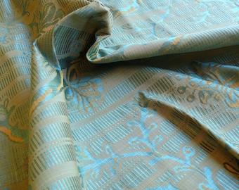 "By Yard Scalamandre ""SABRINA GAUFRE"" Silk Lampas Damask French Blue MSRP 279/Y"