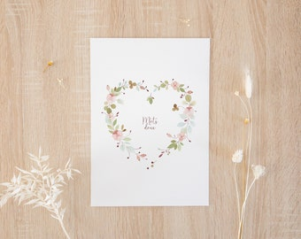 """Postcard A6 with illustration of a heart """"Sweet words"""" / watercolor / art print / poetic stationery"""