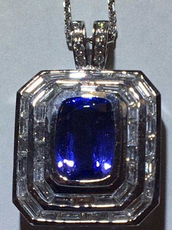 Lady's Incredible Tanzanite & Diamond Pendant