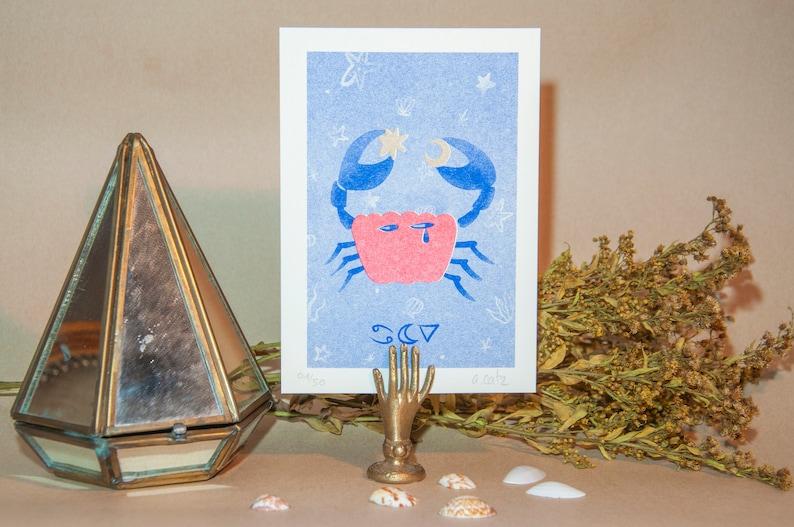 Zodiac sign card CANCER CANCER astro card Risography