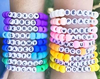 Girls beaded name bracelet Personalized pastel rainbow bracelets