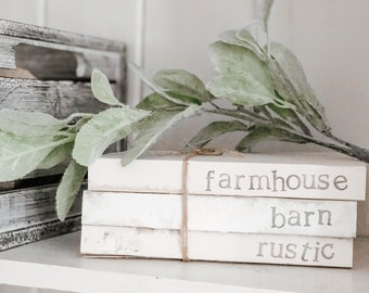 Farmhouse collection stamped books, rustic book decor, farmhouse decor, tray decor, shelf decor, mantle decor