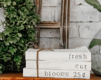 spring stamped books, spring book decor, farmhouse stamped books, spring decor, farmhouse decor, mantle decor, tray decor, fresh cut blooms