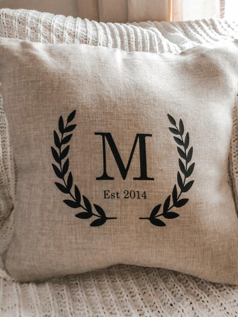 Monogram pillow cover initial pillow farmhouse monogram image 0