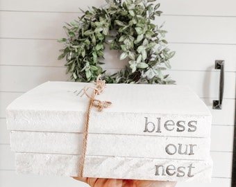 Bless our nest, stamped books, farmhouse decor, vintage books, farmhouse books, houswarming gift, wedding gift, shabby chic, welcome home