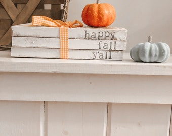 Happy fall y'all stamped book set, fall decor, farmhouse stamped books, happy fall y'all