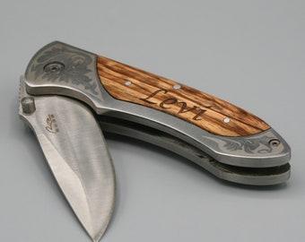 "Pocket Knife - Personalized - Folding -4 1/2"" Knife - Hunting - Fishing - Groomsman Gift - Lock Blade - Fathers Day Gift - Graduation Gift"