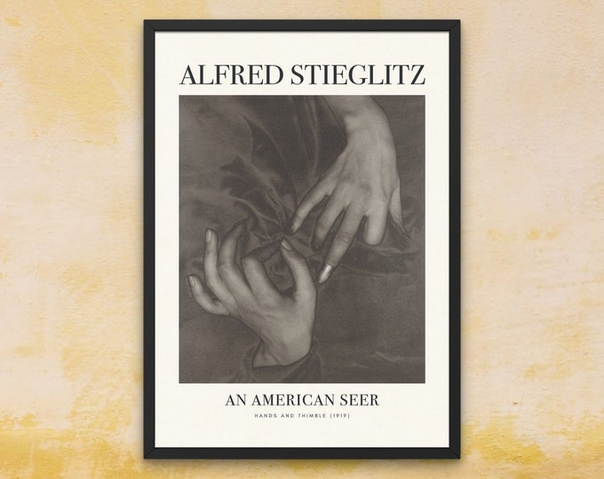 Alfred Stieglitz: Hands and Thimble | Vertical Print | Wall Art | Office Décor | An American Seer | Art Print | Photography