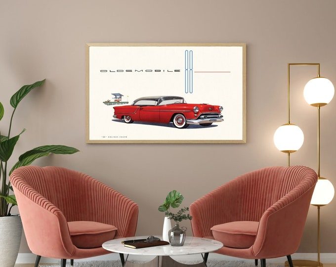 "Vintage Car Poster: 1954 Oldsmobile ""88"" Holiday coupé"