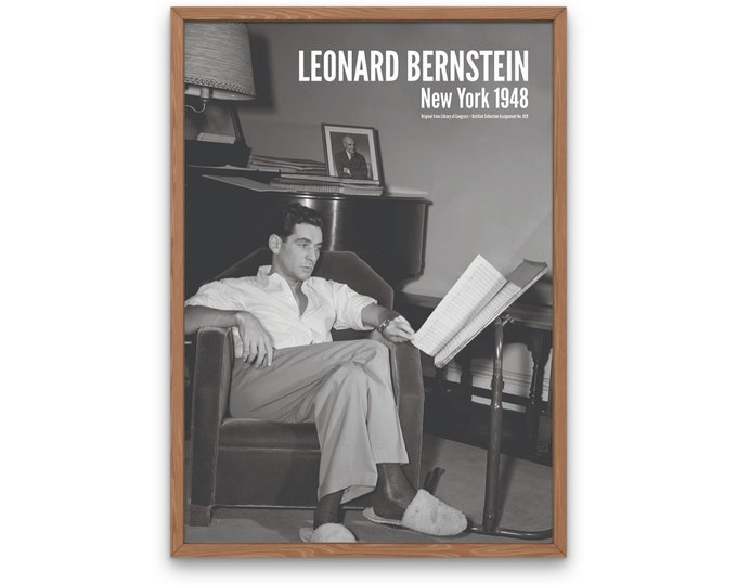 Leonard Bernstein: New York 1948 | Vertical Print | Wall Art | Office Décor | Art Print | Jazz Poster | The Golden Age of Jazz | Jazz Music