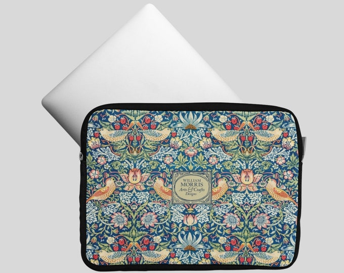 William Morris: Strawberry Thief | Floral Laptop Sleeve | Computer Case | Laptop Bag | Patterned Computer Sleeve | Laptop Folio