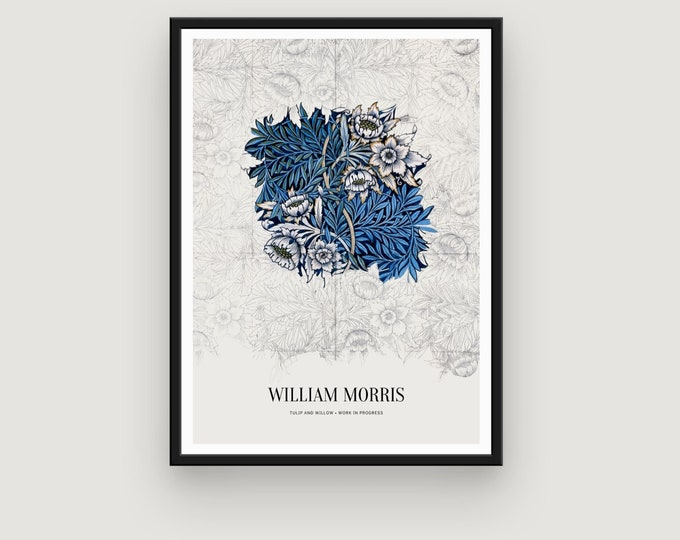 William Morris: Tulip and Willow | Vertical Print | Wall Art | Office Décor | Art Print | British Textile | Arts and Crafts Movement