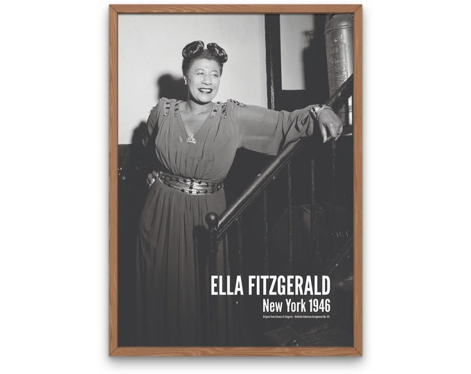 Ella Fitzgerald: New York 1946 | Vertical Print | Wall Art | Office Décor | Art Print | Jazz Poster | The Golden Age of Jazz | Jazz Music