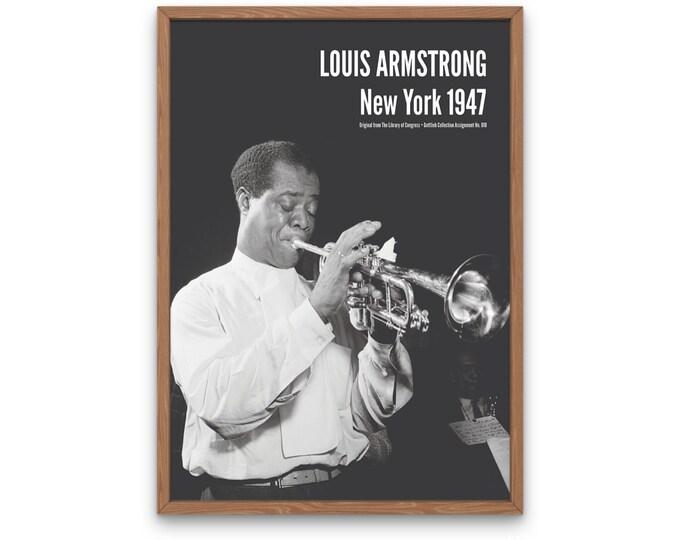 Louis Armstrong: New York 1947 | Vertical Print | Wall Art | Office Décor | Art Print | Jazz Poster | The Golden Age of Jazz