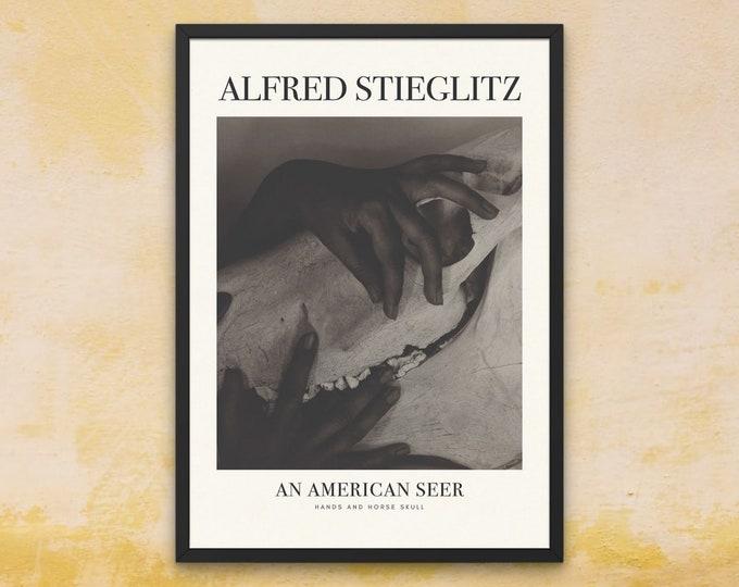 Alfred Stieglitz: Hands and Horse Skull | Vertical Print | Wall Art | Office Décor | An American Seer | Art Print | Photography