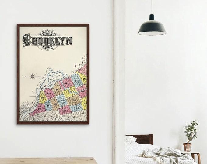 New York Brooklyn Fire Insurance Map (Art Print)